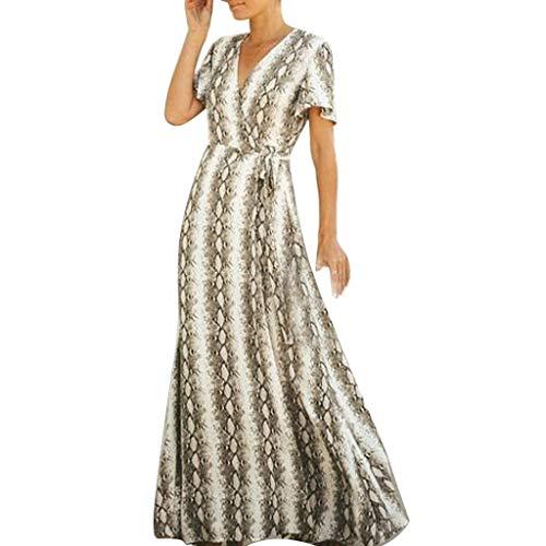 GOKOMO Damen Kleider Strand Elegant Casual A-Linie Kleid Ärmellos Sommerkleider(Braun,Small)