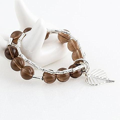Beautiful Bead ?Donne Elegent Caff¨¨ cristallo Zine lega braccialetto perle rotonde Wristband - Caff¨¨ - Lega Wristband