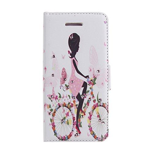 iPhone 4 Lederhülle - Felfy iPhone 4S 4 Handy Zubehör Luxus Bling Shining Diamont Bunte Riding Girl Muster Ständer PU Leder Wallet Case Cover Holster Schutz Hülle Tasche für Mädchen + 1x Rosa Strass B Biking Girl