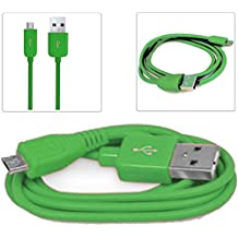 Green 1M Micro USB Data Sync / Charge Charger Charging Transfer Connectivity Adapter Cable Cord Lead Wire For MICROMAX CANVAS TURBO MINI A200 Android Mobile Cellular Cell Phone