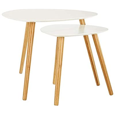 LOMOS® No.2 coffee table set in white comprising of 2 side tables out of wood - cheap UK coffee table shop.