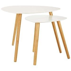 """LOMOS 2er Beistelltisch-Set """"Finja"""" in weiß aus Holz im skandinavischen Design"""