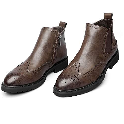 LDZY Männlichen Casual Stiefeletten Brogues Vintage Spitz Zipper Abendgesellschaft Schuhe Formale Arbeit Büro Urlaub Chelsea Stiefel,Brown-EU43/UK8