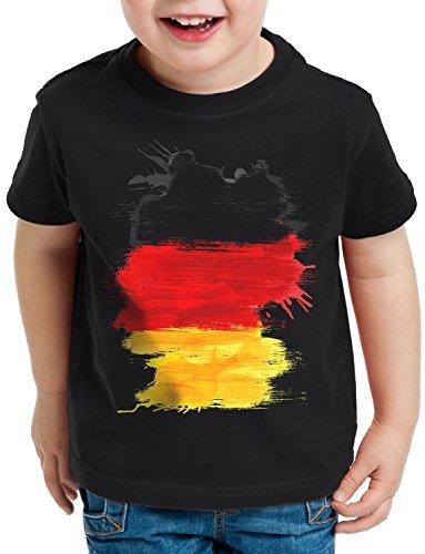 CottonCloud Flagge Deutschland Kinder T-Shirt Fußball Sport Germany WM EM Fahne, Farbe:Schwarz, Größe:104