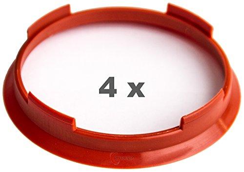 4 x Zentrierringe 70.4 mm auf 66.1 mm rot/red