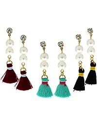 Anuradha Art Multi Colour Hand-Made Designer Beads Styled Classy Long Party Wear Earrings For Women/Girls