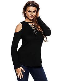 EOZY Femme Tops Lace Up Blouse Epaulé Tunique T-Shirt Manche Longue
