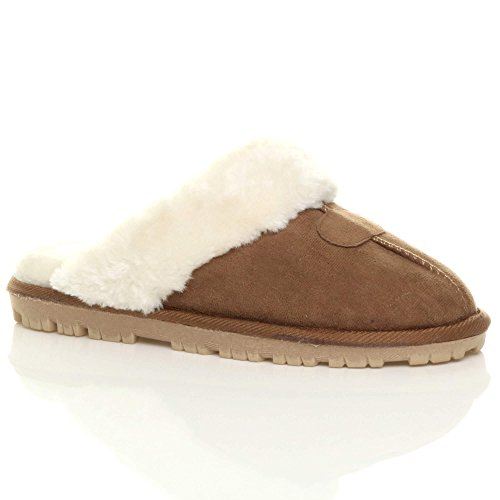 Womens Ladies Flat Low Heel Winter Fur Lined Luxury Mules Slippers (Chestnut Camel Tan) (5 UK)