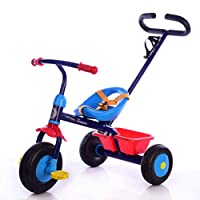 Little Bambino My First 2 in 1 Trike with Removable Parent Push Handle Kids Trike Parents Steering Handle (blue)