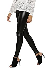 Timbre Women's PartyWear Faux Leather Black Legging (Available in all sizes)