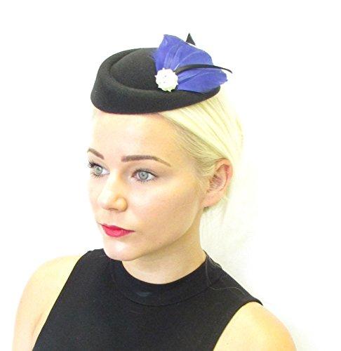 Bleu marine Noir Plume Chapeau bibi Coiffe courses Cheveux vintage 435 * exclusivement Vendu par Starcrossed Beauty *