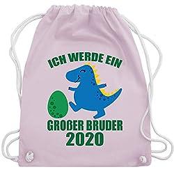 Shirtracer Geschwister Bruder - Ich werde ein großer Bruder 2020 mit Dinosaurier - Unisize - Pastell Rosa - WM110 - Turnbeutel und Stoffbeutel aus Bio-Baumwolle