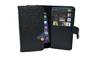 TOTTA PU Leather Wallet Pouch with Card Holder Karbonn Titanium S6 (Black)