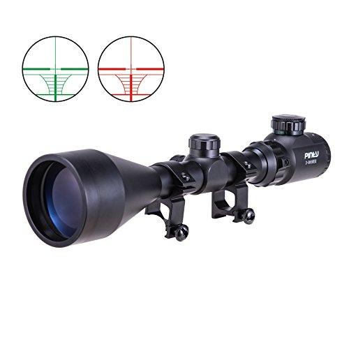 Pinty 3-9X56EG Zielfernrohr Luftgewehr Scope Mil Dot Rangefinder Rot Grün Red Dot Sight Visor Taktische mit Halterungen und Flip-up Cover für die Jagd