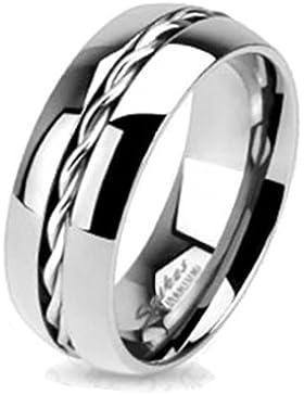 Paula & Fritz® Titan Ring silber Rope Twist Inlay verfügbare Ringgrößen 47 (15) – 69 (22) R-TM-3656