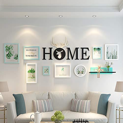 Leaf Wall Plate (Wohnzimmer sofa hintergrund wanddekoration malerei nordischen modernen einfachen stil hängen malerei schlafzimmer wand elch wandbild kombination, 2-4 m wand, 15mm dicke platte, 023 weißes hellgrünes b)