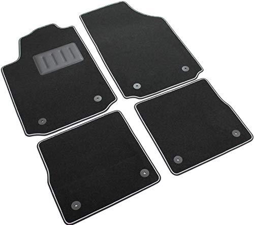 Das Teppich Auto, sprint00201, Fußmatten Teppiche Schwarz rutschfest, verstärkter Rand, zweifarbig, Absatzschoner aus Gummi, A2. (Audi-auto-fußmatte)