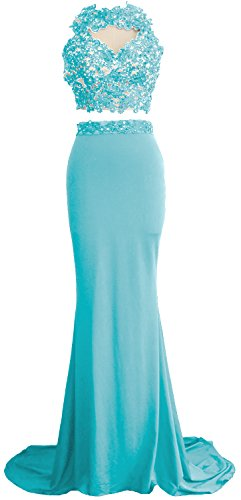 MACloth Women Mermaid 2 Piece Long Prom Dress Lace Jersey Evening Formal Gown Menthe