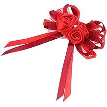 Gazechimp Boutonnière Fleur Broche Rose Tissu Cristal avec Clip Accessoire de Costume Tuxedo Robe Mariage - Rouge