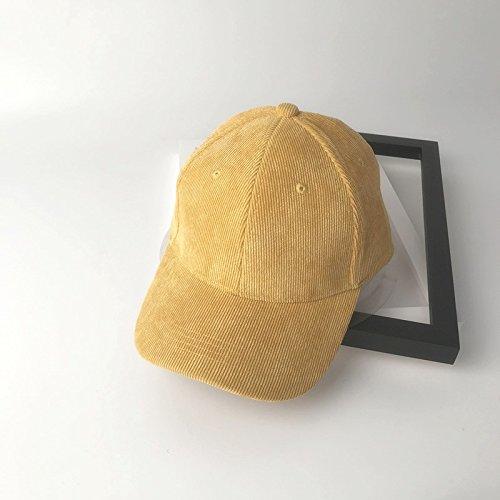 ZHANGYONG*Federkappe Herbst und Winter Baseball Cap mehr Frauen der Farbe Cord tide Cap preppy, Kappen, verstellbare Gelb