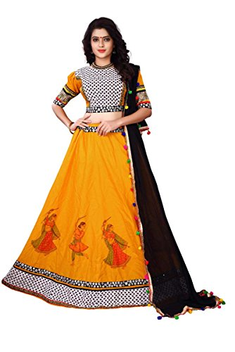 J B Fashion Women's Pure Cotton with Digital print Yellow color Lehenga...