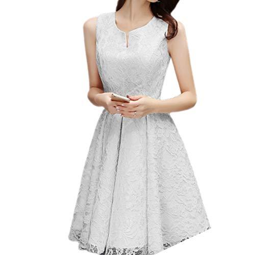 ZLDDE Damen Charmant Knielang mit Spitzen Cocktail Abendkleider Bindungs-Entwurf (Grecian Kleid Plus Größe)