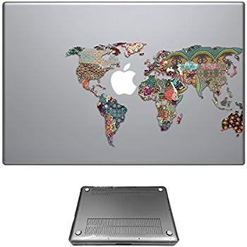 c0191 - Colorfull tropical world map Design Macbook Air 13.3'' (2012-2015) Fashion Trend Protecteur Coque Plastique dur protection complète Avant et arrière