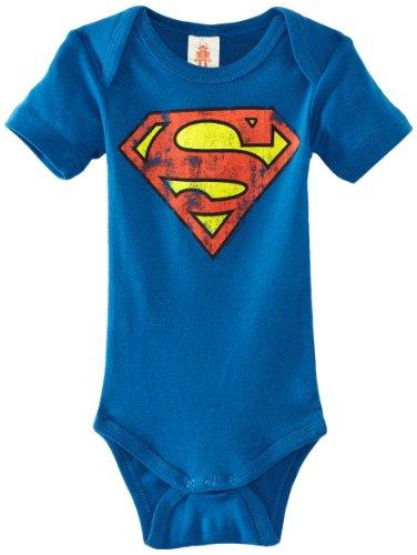 Logoshirt Baby - Jungen Spieler, babybody Superman-logo, GR. 92 (Herstellergröße:98/104), Blau (Azure Blue)