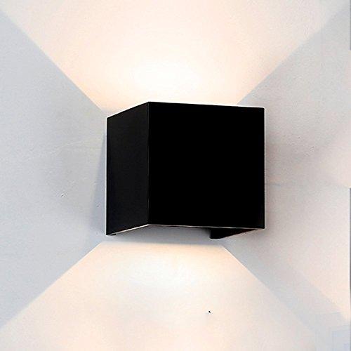 Preisvergleich Produktbild FollowHeart 7W Wandleuchte Wasserdichte LED IP65 mit verstellbarem Strahlwinkel Design 2700K Warme weiße Beleuchtung für Flur Treppenhaus Gartenwand (schwarz-warmes Licht) (7W Cube Schwarz)