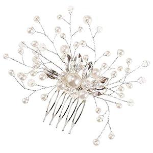 Baoblaze Vintage Haarkamm Haarnadeln Steckkamm Haarschmuck mit Perlen und Strass Deko für Jede Anlässe