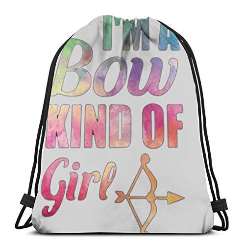 Desing shop I'm A Bow Kind of Girl Lady Hunter 3D Print Drawstring Backpack Rucksack Shoulder Bags Gym Bag for Adult 16.9