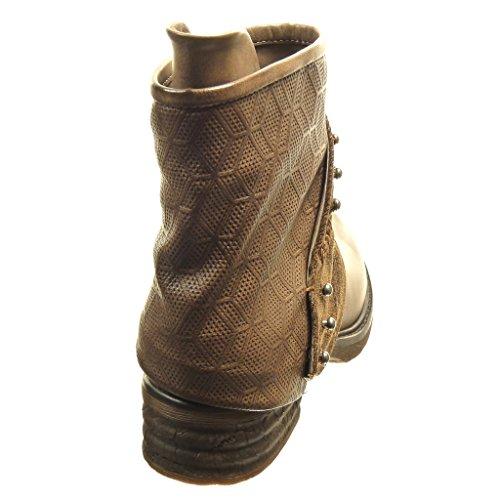 Angkorly - Scarpe Da Donna Stivaletti - Biker - Stivali Da Equitazione - Cavalier - Bi-materiale - Borchiati - Traforati - Tacco Largo Tacco 4 Cm Kaki
