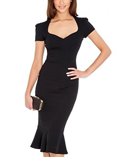 Balleay Femme Carré de cou Cocktail Fête Bal de Promo Midi Robe de soirée Robe sur Mesure BA310357 Noir
