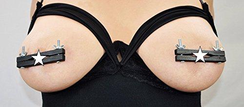 Bondage Nippelklemme Holz 10 Farben Nippelpranger Klammer SM Brust BDSM Presse, Farbe:Schwarz