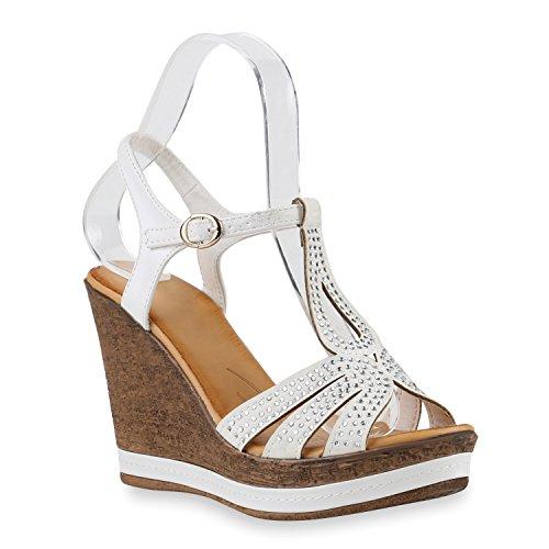 Damen Keilsandaletten Sandaletten Keilabsatz Sandalen Wedges Plateau Schaftsandaletten Schuhe 143791 Weiss 39 | Flandell®