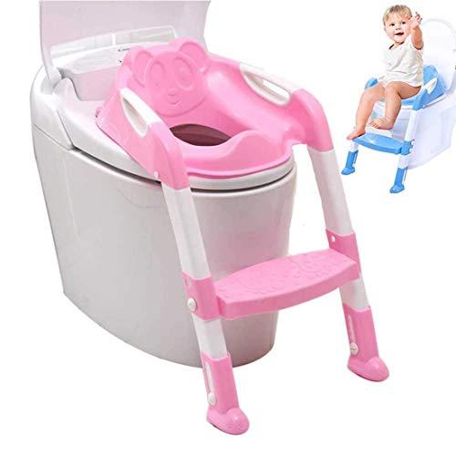Fablcrew Kinder Toilettensitz, faltbar, verstellbar, Toilettensitz, große Stufen, bequemer Toilettensitz Rosa