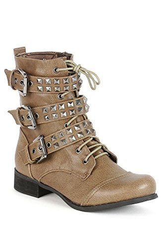 Boots rangers cloutées brides multiples Marron