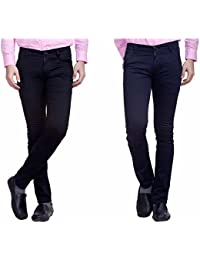 Nimegh Black And Navy Blue Color Cotton Casual Slim Fit Trouser For Men's (Pack Of 2)