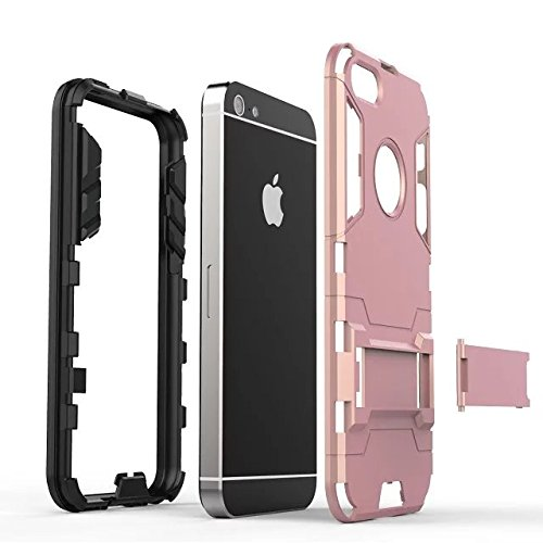 iPhone Case Cover IPhone 5S SE Cover, 2 in 1 neue Rüstung Tough Style Hybrid Dual Layer Defender PC harte rückseitige Abdeckung mit Standplatz shockproof Fall für IPhone 5S SE ( Color : Rose Gold , Si Blue