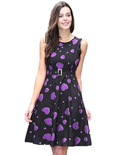 lemongirl-women-a-line-heart-print-dress-vest-puff-dresses
