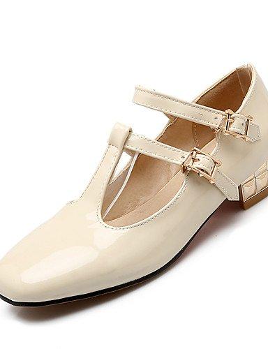 WSS 2016 Chaussures Femme-Habillé / Décontracté-Noir / Rose / Beige-Talon Bas-Talons / Bout Carré-Talons-Similicuir black-us5 / eu35 / uk3 / cn34