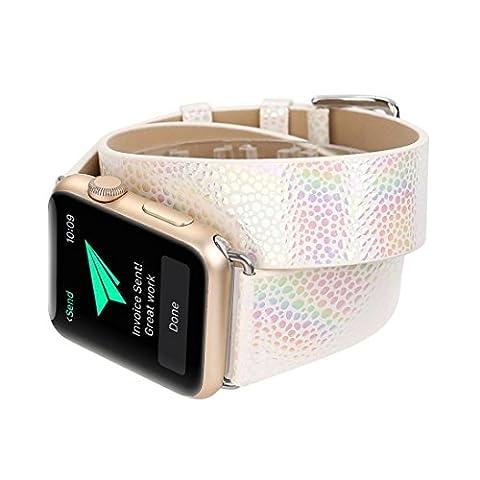 Gaddrt Bandoulière à bracelet en cuir à bandoulière longue montre bracelet pour Apple Watch 38MM (Argent)