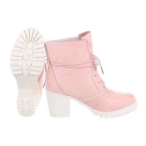 Ital-Design Schnürstiefeletten Damenschuhe Schnürstiefeletten Blockabsatz Schnürer Schnürsenkel Stiefeletten Pink A-67-1