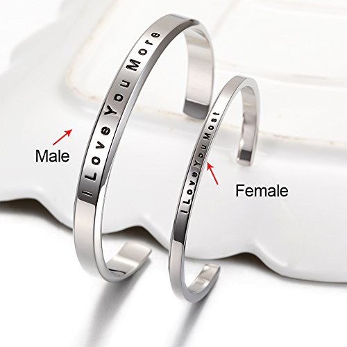 """Parr Partner Armbänder aus Edelstahl mit Gravur """"His Only & Her One"""" (""""I Love You Most & I Love You More"""")"""