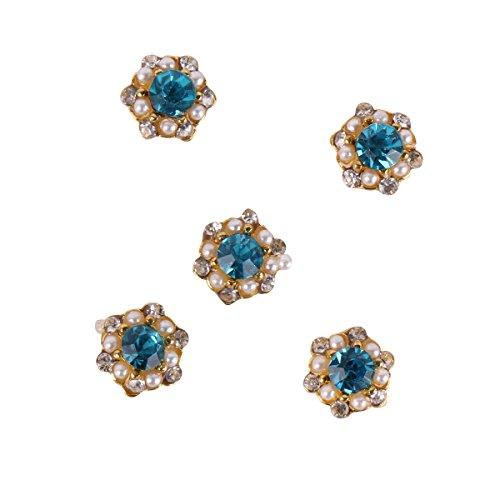 RAIN QUEEN 5Pcs Fleurs incrusté Bleu Gemme Plein de Cristal Perle Bijoux Accessoire Nail Art 3D Décoration Ongle