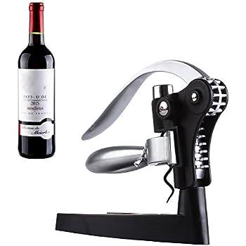 Corkscrew,GWCLEO Wine Bottle Opener Bar Craft Connoisseur Deluxe Lever-Arm Corkscrew And Foil Cutter Gift Set