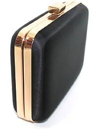 HUGO BOSS NUIT LADIES BLACK HARD CASE CLUTCH BAG WITH GOLD TRIM