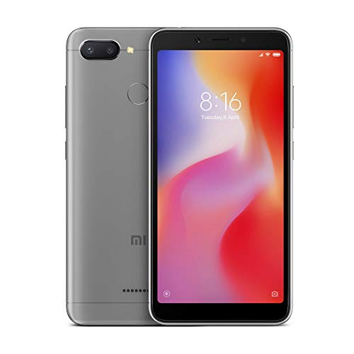 Xiaomi redmi 6 - (Dual SIM) 32GB 5.45-Inch Android 8.1, MIUI 9 UK Version Smartphone SIM gratuite - Gris foncé (Lancement officiel du Royaume-Uni)