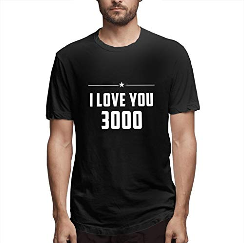 Einfache T-Shirt Der Art- Und WeiseMänner Lieben Sie DREI Tausend Mal Brief Gedruckte T-StüCke Kurzarm Oansatz Bluse Schwarz M