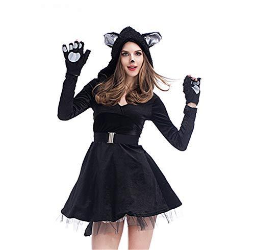 Katze Familie Kostüm Schwarze - Fanessy. Schwarze Katze Kostüm Overall mit Kapuze Tierkostüm Schlafanzug Jumpsuit für Fasching Halloween Karneval Party Eltern-Kind Familien Kostüm Kind Erwachsene Unisex Verkleidung Cosplay Outfits